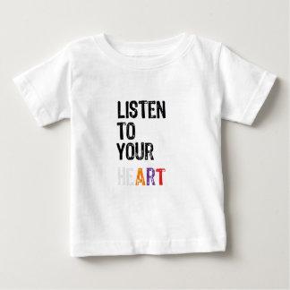Camiseta Para Bebê Escute seu coração