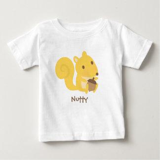 Camiseta Para Bebê Esquilo de noz bonito com a porca de bolota para