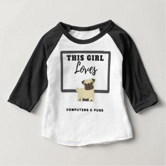 Camiseta Para Bebê Esta menina ama computadores & Pugs