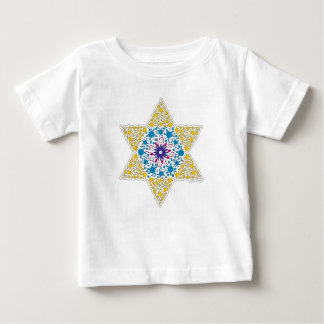 Camiseta Para Bebê Estrela de David azul e amarela do vintage - Magen