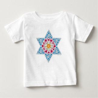 Camiseta Para Bebê Estrela de David azul e magenta do vintage - Magen