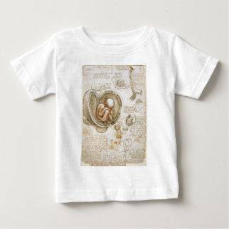 Camiseta Para Bebê Estudos de Leonardo da Vinci do feto no ventre