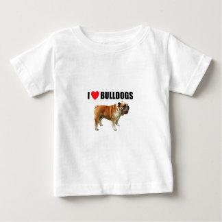 Camiseta Para Bebê Eu amo buldogues