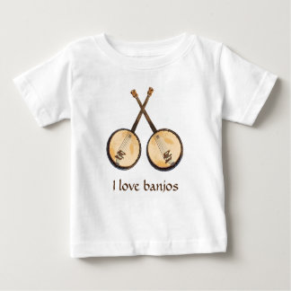 Camiseta Para Bebê Eu amo instrumentos de música do banjo