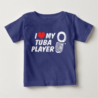 Camiseta Para Bebê Eu amo meu jogador da tuba