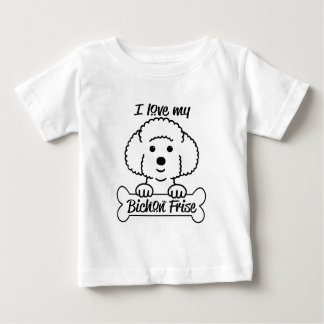 Camiseta Para Bebê Eu amo meu roupa ocasional de Bichon Frise