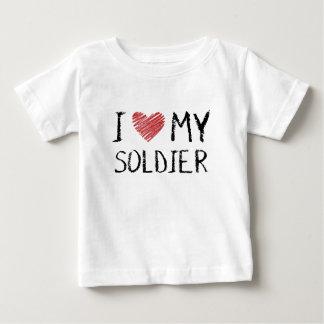 Camiseta Para Bebê Eu amo meu soldado