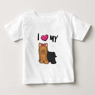 Camiseta Para Bebê Eu amo meu Yorkie