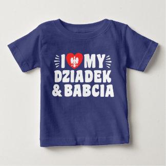 Camiseta Para Bebê Eu amo meus Babcia & Dziadek