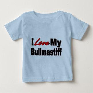 Camiseta Para Bebê Eu amo minha mercadoria do cão de Bullmastiff