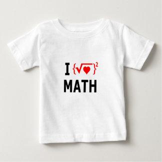 Camiseta Para Bebê Eu amo o branco da matemática
