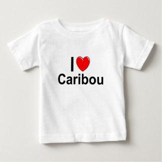 Camiseta Para Bebê Eu amo o caribu do coração