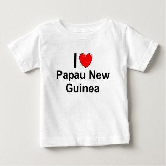 Camiseta Para Bebê Eu amo o coração Papau Nova Guiné