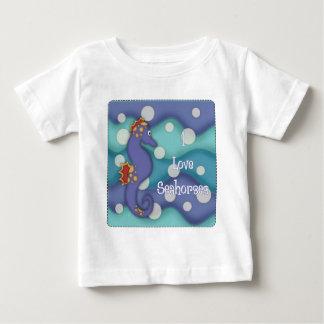 Camiseta Para Bebê Eu amo os cavalos marinhos 2 - cavalos marinhos da