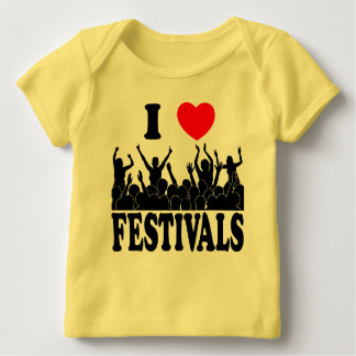 Camiseta Para Bebê Eu amo os festivais (o preto)