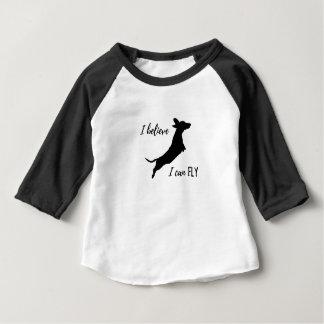 Camiseta Para Bebê Eu belive mim posso voar o dachshund