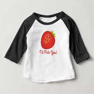 """Camiseta Para Bebê """"Eu escolhê-lo-ia!"""" T do bebê da luva da morango"""