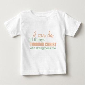 Camiseta Para Bebê Eu posso fazer todas as coisas com o cristo que