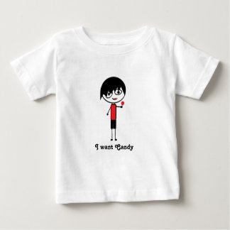 Camiseta Para Bebê eu quero o tshirt do miúdo do emo dos doces