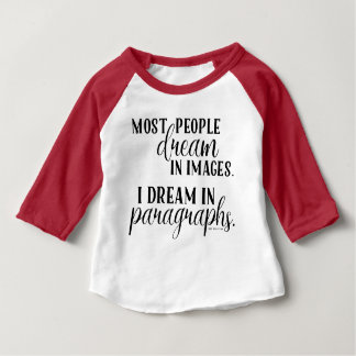 Camiseta Para Bebê Eu sonho no Tshirt do basebol da criança dos