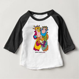 Camiseta Para Bebê eu te amo arte ingénua do casal