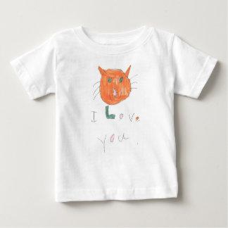 Camiseta Para Bebê eu te amo com o desenho do gato para miúdos