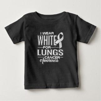 Camiseta Para Bebê Eu visto o branco para a consciência do câncer