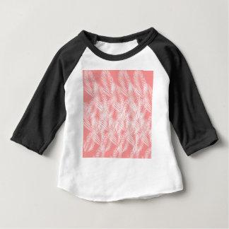 Camiseta Para Bebê Exotico do branco do rosa das palmas do design
