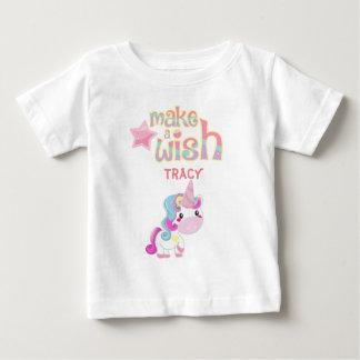 Camiseta Para Bebê Faça uns desenhos animados do partido do unicórnio