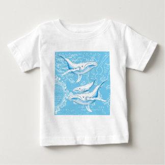Camiseta Para Bebê Família das baleias azuis