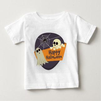 Camiseta Para Bebê Fantasmas felizes e Crossbones do Dia das Bruxas