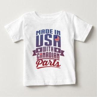 Camiseta Para Bebê Feito nos EUA com peças canadenses