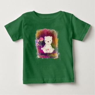 Camiseta Para Bebê Feliz aniversario Colorburst TeddyBear
