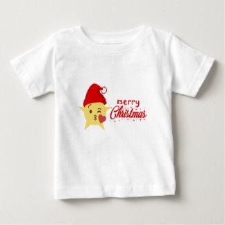 Camiseta Para Bebê Feliz Natal bonito do travesseiro do ícone