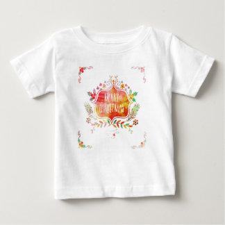 Camiseta Para Bebê Feliz Natal retro da aguarela