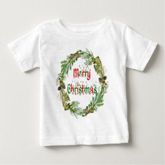 Camiseta Para Bebê Feliz Natal vermelho & verde