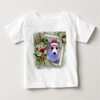 Camiseta Para Bebê Filhote de cachorro do Corgi do Natal no quadro