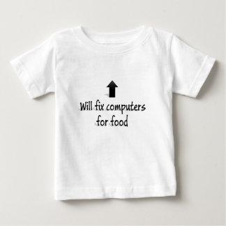 Camiseta Para Bebê Fixará computadores para a comida