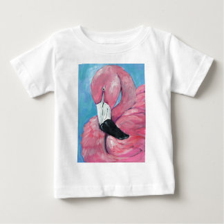 Camiseta Para Bebê Flamingo cor-de-rosa