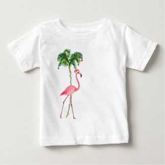 Camiseta Para Bebê Flamingo do Natal
