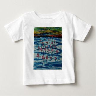 Camiseta Para Bebê Flamingos no lago salgado