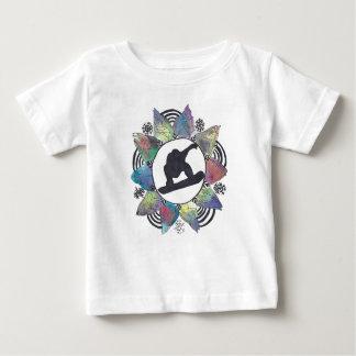 Camiseta Para Bebê Flor da montanha do Snowboarder