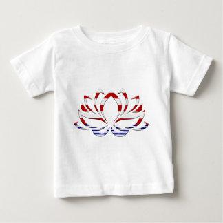 Camiseta Para Bebê Flor de Lotus branco & azul vermelha
