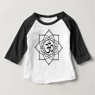 Camiseta Para Bebê Flor de Lotus, preta com fundo branco