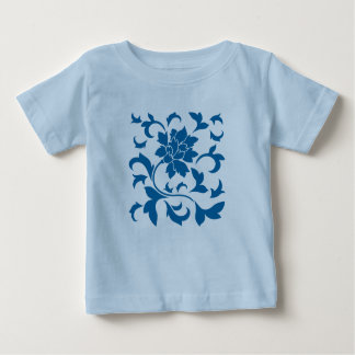 Camiseta Para Bebê Flor oriental - azul do Snorkel