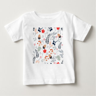 Camiseta Para Bebê Flor selvagem da luz do vintage - e folha azuis e