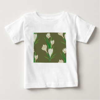 Camiseta Para Bebê Flores brancas 2 do açafrão