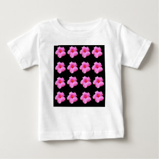 Camiseta Para Bebê Flores cor-de-rosa do hibiscus no preto, _