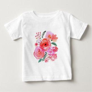 Camiseta Para Bebê Flores da aguarela