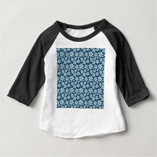 Camiseta Para Bebê Flores em azul escuro